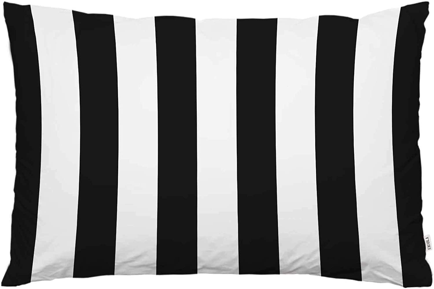 EKOBLA Throw Pillow Cover Black White Stripes Geometric Design Stripe Modern Simple Life Monochrome Style Decor Lumbar Pillow Case Cushion for Sofa Couch Bed Standard Queen Size 20x30 Inch