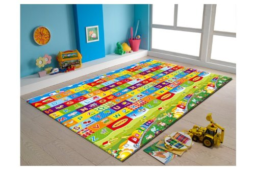 Alphabet Noah Rug - MyLine Baby Play Mat, Foam Floor Gym Rug, Non-Toxic, Non-Slip, Reversible, Waterproof, Great for Children, Toddler and infant, Super Large 78.7''x70.9'', Extra Thick, Noah's Ark/Train ABC