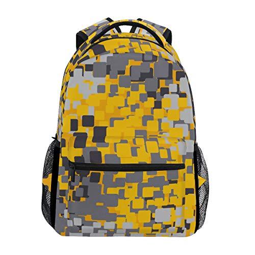 A Seed Backpack School Bag Mosaic Plaid Geometric Yellow Grey for Kid Boy Girl