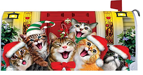 Christmas Cats Mailbox Makover Cover - Vinyl witn Magnetic Strips for Steel Standard Rural Mailbox - Copyright, Licensed and Trademarked by Custom Decor Inc. Cat Mailbox Covers