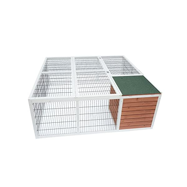"PawHut 64"" Wooden Outdoor Rabbit Hutch Playpen with Run and Enclosed Cover 6"