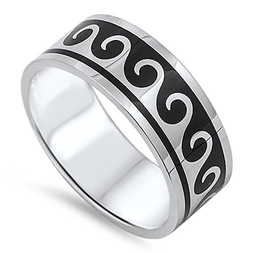 Men's Wave Surf Water Black Classic Ring 316L Stainless Steel Band Size -