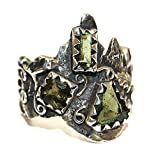 Moldavite Ring Jewellery - Sterling Silver - Forest Design MOLDR16A02