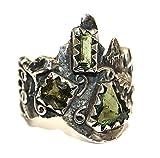 Moldavite Ring Jewellery - Sterling Silver - Forest Design MOLDR16A02