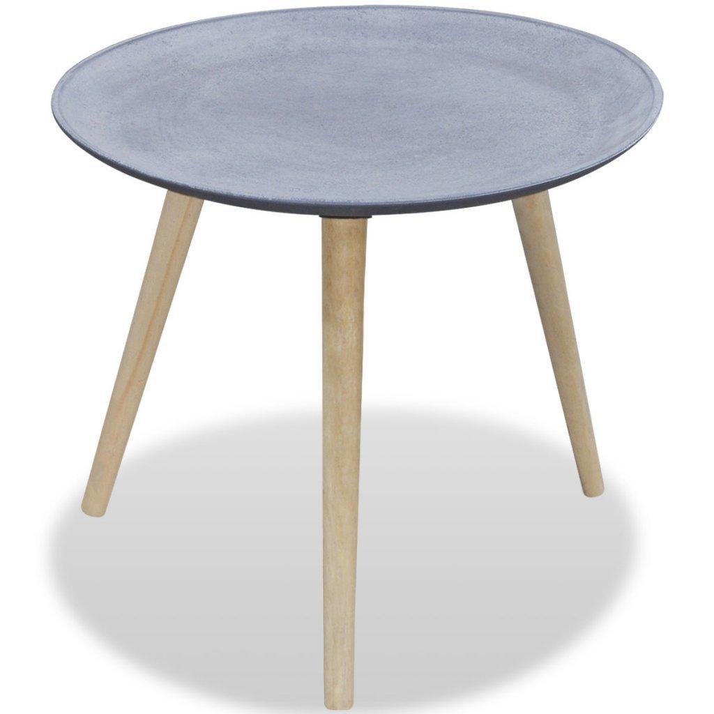 Festnight Tavolino laterale rotondo / tavolino caffè grigio effetto cemento con 3 gambe in legno