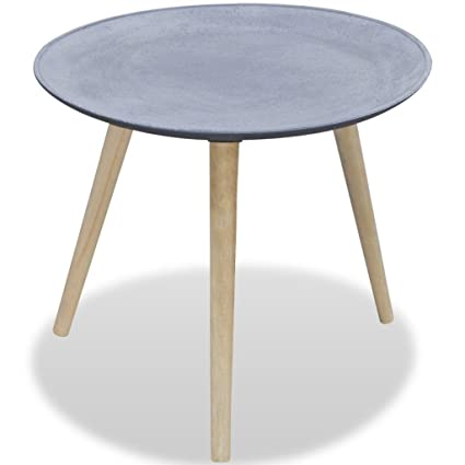 Anself Round Side Table Coffee Table Grey Concrete Look