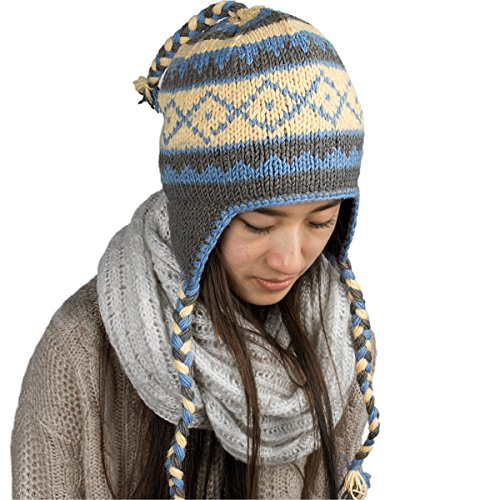 Tribe Azure Fair Trade Warm Winter Soft Wool Hat Fleeced Lined Cap Hand Knit Women Ear Flaps Merino