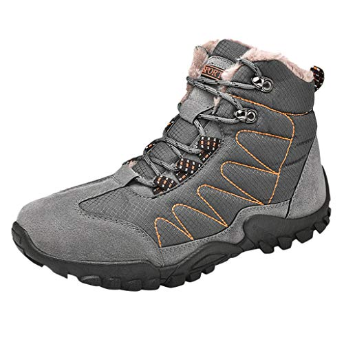Haforever Men's Winter Snow Boots Warm Water Resistant Non Slip Fur Lined Outdoor Hiking Shoes Ankle Sneakers