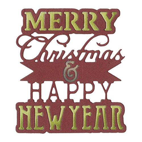 Sizzix 660662 Thinlits Die, Phrase, Merry Xmas & Happy New Year (Phrase Cut Die Scrapbook)