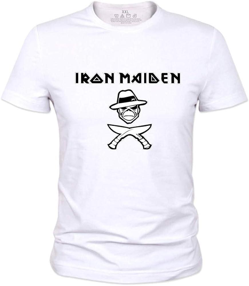 Iron Maiden Camiseta Patrón clásico de Dibujos Animados de impresión de Manga Corta Cuello Redondo Camiseta Blusa Camiseta de Verano Blusa Hombres ...