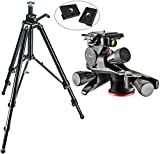 Manfrotto 475B Aluminum Pro Geared Tripod Kit with XPRO Geared Head with Two Calumet Quick Release Plates for the RC2 Rapid Connect Adapter