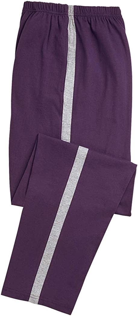 AmeriMark Women/'s Contrast Stripe Sweatpants Pull-On Pants with Pockets Purple XLP