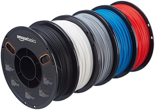 AmazonBasics PLA 3D Printer Filament, 1.75mm, 5 Assorted Colors, 1 kg per Spool, 5 Spools