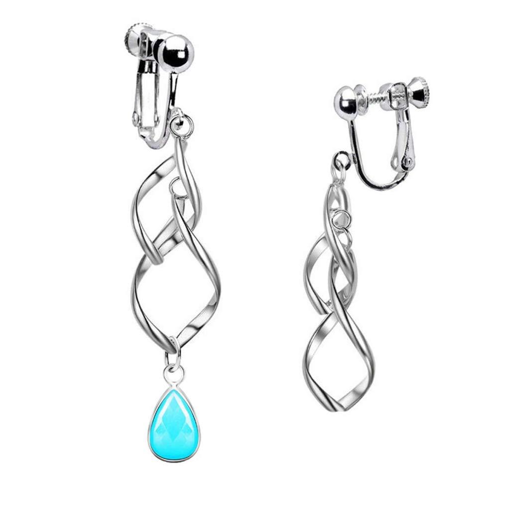 Fashion Twisted Clip on Earrings Long Spiral Leaf Tassel Crystal Blue Birthstone Dangle for Girls