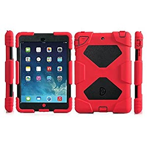 ipad mini Case,Aceguarder Apple Ipad Mini 1&2&3 Case Waterproof Rainproof Shockproof Kids Proof Case for Ipad Mini 2 Mini 1&2(gifts Outdoor Carabiner + Whistle + Handwritten Touch Pen) (RED-BLACK)