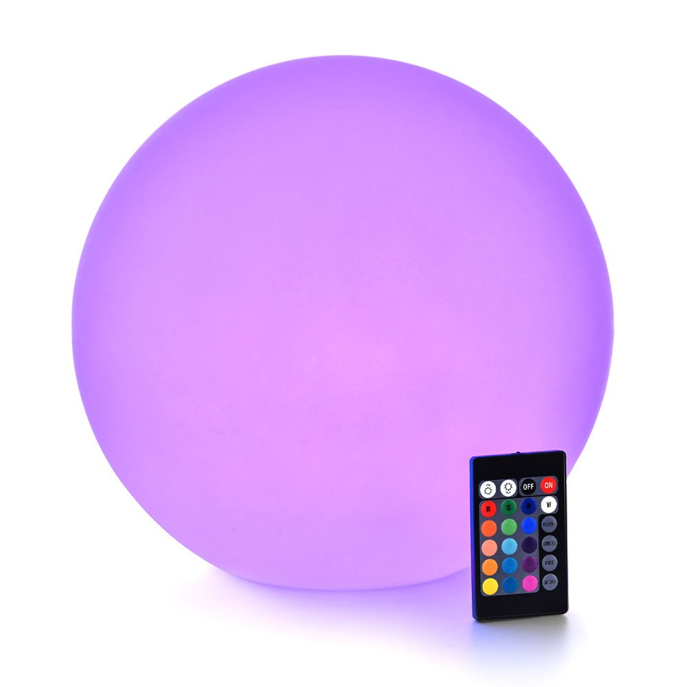 LOFTEK LED RGB Glow Ball: 12-inch Cordless Home Decor Night Lights with Remote Control, Rechargeable Color Changing Orb, for Halloween or Christmas