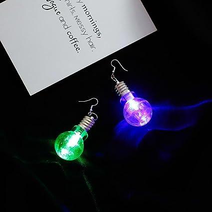 676562eba3dd3 Iuhan LED Blinking Bulb Fashion Women Light Up Earring Ear Hook Dangle  Party Pub Christmas Halloween Earrings Jewelry (8x3cm, A)