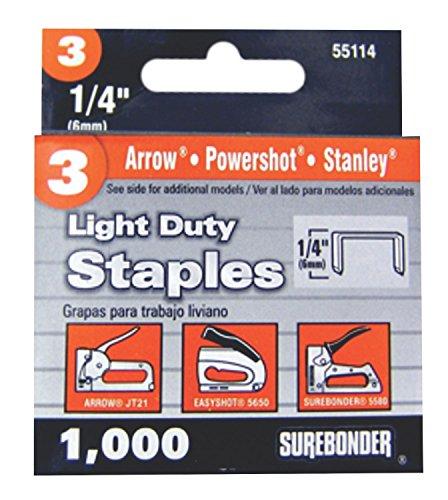 Surebonder 55114 Light Duty 1/4-Inch Leg Length, .441-Inch Crown Staples, Arrow JT21 Type, 1000 Count