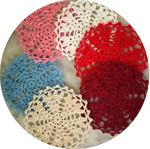 2019Hot round cotton placemat cup coaster mug kitchen Christmas pan table place mat cloth lace Crochet tea coffee doily dish pad,Wine red,Round 15cm (Placemats Maxx Tj)