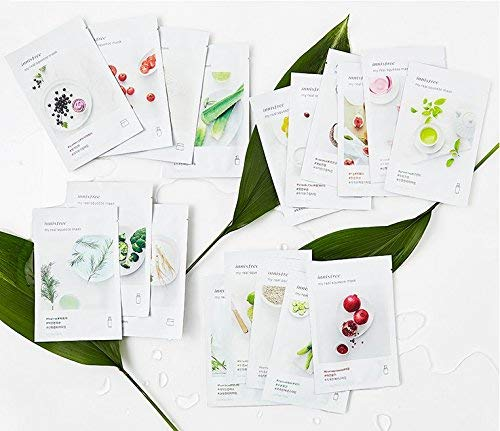 2017 New Innisfree My Real Squeeze Mask Sheets -18 Pattern of Flavour (18 pieces) (Best Korean Whitening Products 2019)
