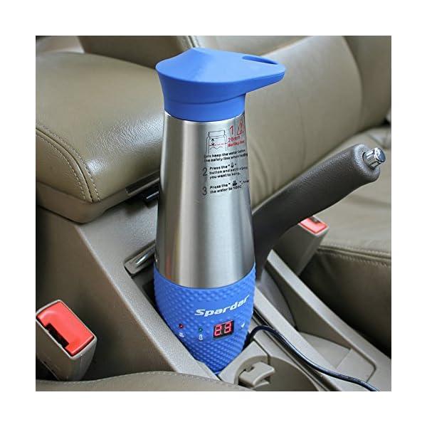 51E%2BlRFlIiL Spardar Wasserheizbecher für Auto, Doppelwandig, Vakuumisoliert, Edelstahl, Automatischer Zigarettenanzünder, DC 12V…