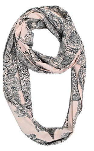(Peach Couture Vintage Womens Bohemian Design Infinity Loop Scarves (Light Pink Henna))