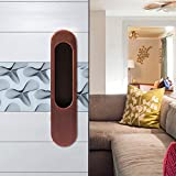 CCJH Invisible Door Handle for Sliding Barn Wooden Door Furniture Hardware Ellipse Shaped (6.8''L1.5''W Red Copper)