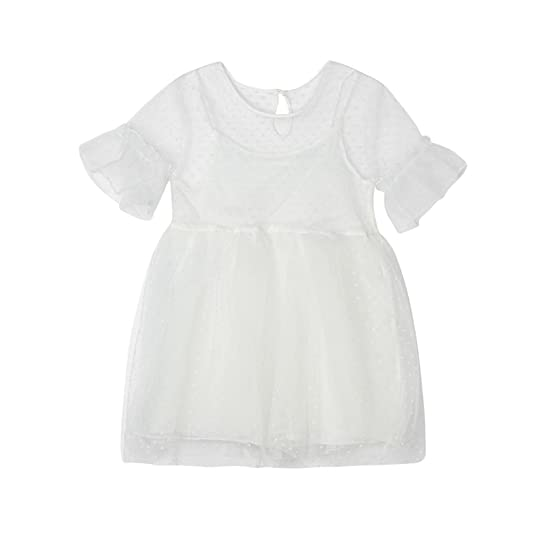 Goodtrade8 Baby Girl Flower Lace Solid Short Sleeve Mesh Tutu Tulle Dress Outfit Clothes