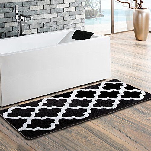 Uphome Moroccan Patten Extra Long Microfiber Bathroom Shower Accent Rug - Non-slip Soft Absorbent Decorative Bath Runner Floor Mat Carpet (18