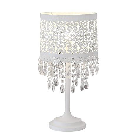 Lámpara de mesa Marrakech, color blanco de metal con diseño oriental y cristales, soporte de lámpara, pantalla de lámpara