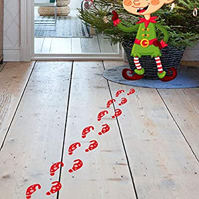 Ocosy 36Pairs Removable Christmas Elf Footprint Stickers Elf on The Shelf Elf on The Floor