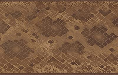 Brown Beige Abstract Wallpaper Border Checkered Geometric Design, Roll 15' x 5.25''