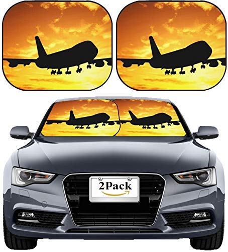 MSD Car Sun Shade Windshield Sunshade Universal Fit 2 Pack, Block Sun Glare, UV and Heat, Protect Car Interior, Image ID: 1470945 Silhouette of Airplane Over Sunset