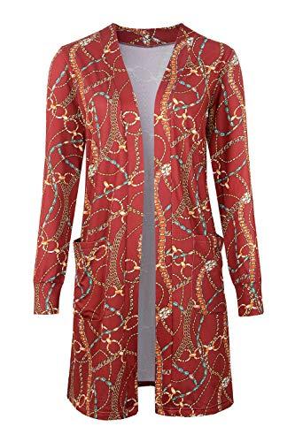 - Tribear Women's Long Sleeve Open Front Loose Causal Lightweight Kimono Cardigan(Jujube Red,Small)