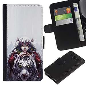 Stuss Case / Funda Carcasa PU de Cuero - Tigre Blanco & Girl - Samsung Galaxy S3 III I9300