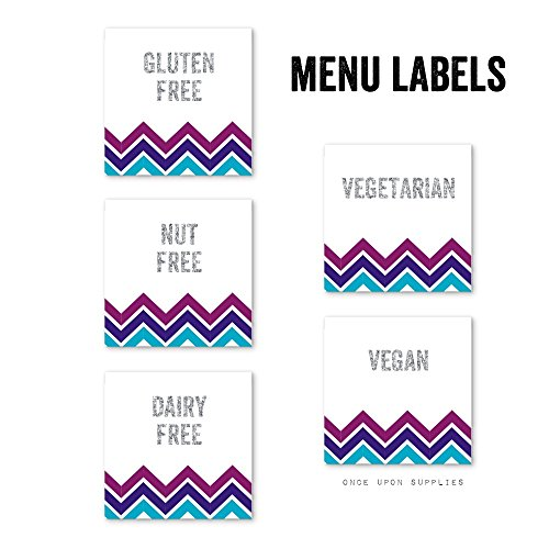 Midnight Chevron Stripes Food Allergy Warning Labels by Once Upon Supplies, Gluten Free, Dairy Free, Nut Free, 2x2