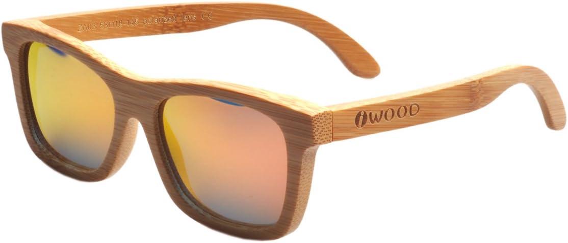 Iwood Handcrafted Moda de bambú carbonizado Marcos Rojo Lente ...