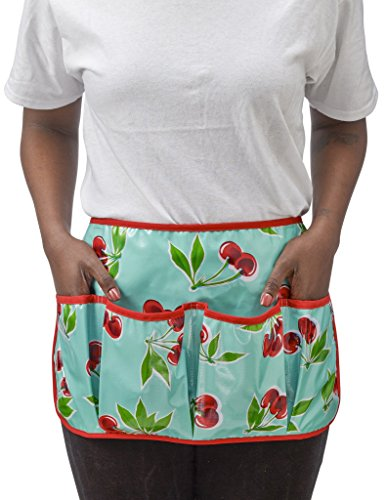 Freckled Sage Oilcloth Garden Apron Cherry Aqua by Freckled Sage Oilcloth Products