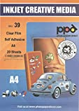 "PPD Inkjet Clear Creative Self-Adhesive Film A4 (8.27 x 11.69"") 4.7mil x 20 Sheets (PPD039-20)"