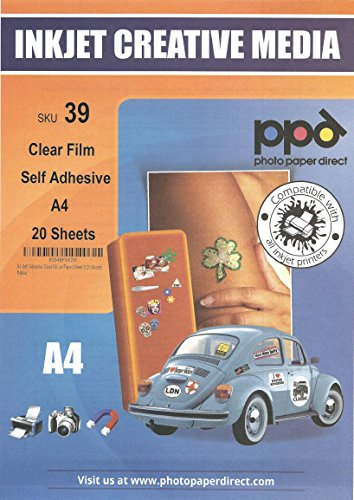 PPD Inkjet Vinyl Self-Adhesive Clear 4.7mil A4 (8.27 x 11.69')-20 sheets