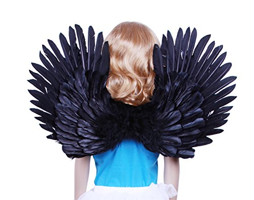 (FashionWings (TM Children's Black Costume Feather Angel Wings Point up or)