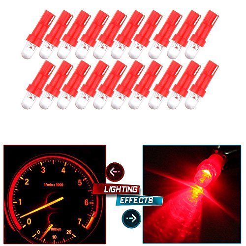 CCIYU 20 Pack Red T5 37 74 Wedge SMD Led Bulbs Instrument Cluster Light Panel Gauge Lamp