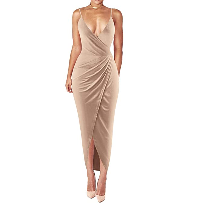aa6d5bf5cc7 DAMAI Women s Sexy V Neck Spaghetti Strap Bodycon Sleeveless Wrap Dress  Front Slit Bandage