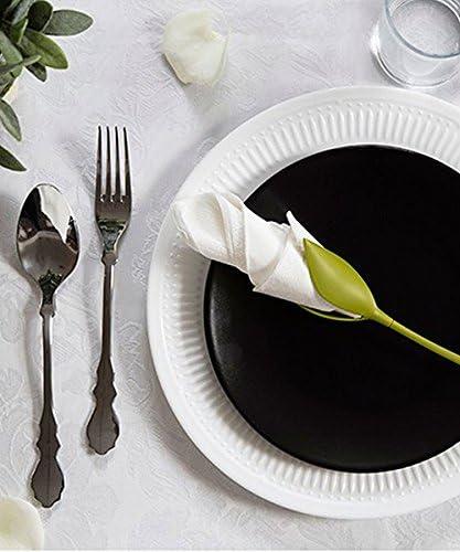 Juego de 4 verde tallo plástico Twist capullos de flores servilleta soportes plus blanco servilletas de papel para hacer Original de mesa: Amazon.es: Hogar