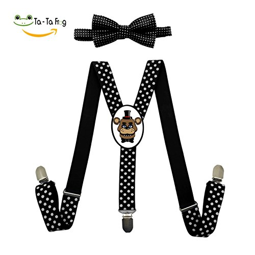 Five Nights At Freddy's Bear Costume (Five Nights at Freddy's Freddy Adjustable Suspenders Y-Back Suspender Bow Tie Bowknot Set Unisex Red Blue Black)