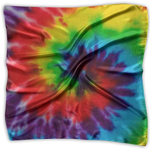 Large Womens Fashion Silk Neck Shawl Square Satin Scarf, Tie Dye Pattern Printed Silky Bandana Head Scarf Sleeping