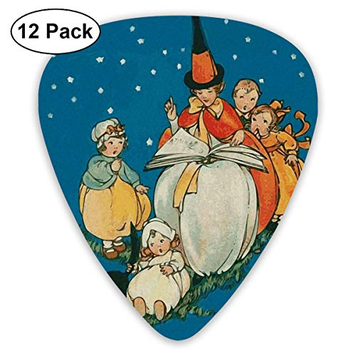 Witch Child Black Cat Night Fear Halloween Fairy Tale Bendy Ultra Thin 0.46 Med 0.73 Thick 0.96mm 4 Pieces Each Base Prime Plastic Jazz Mandolin Bass Ukelele Guitar Pick Plectrum -