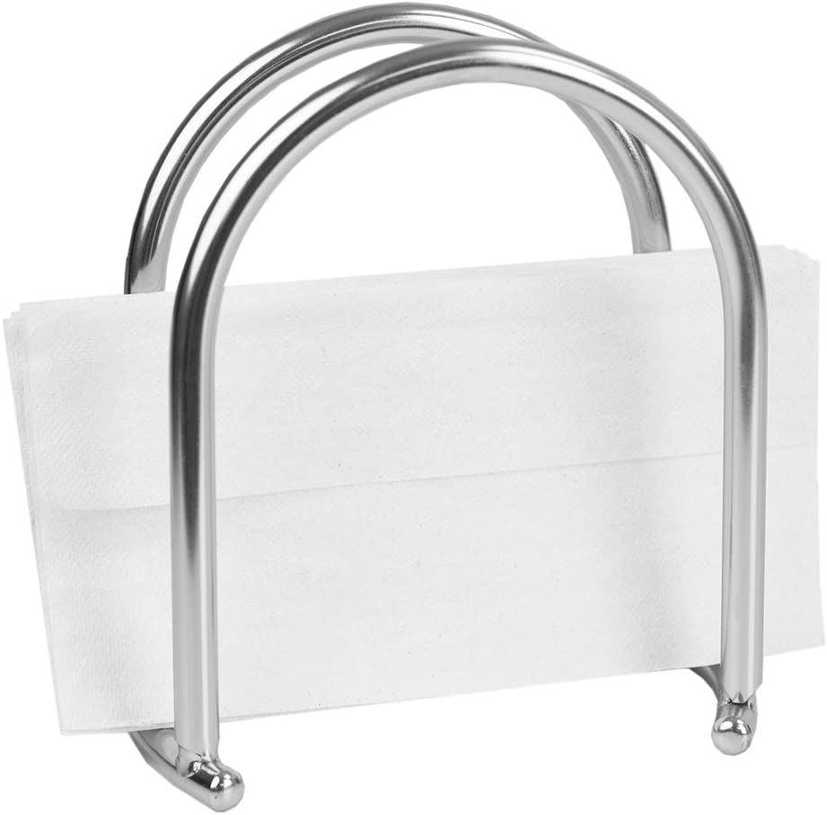 Home Basics Simplicity Collection Napkin Holder for Kitchen Countertop   Dinner Table   Indoor & Outdoor Use   Storage and Organization, Silver