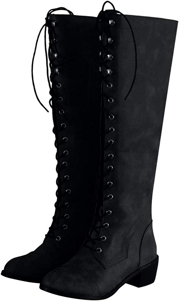 Dainzuy Womens Chunky Heel Over-The-Knee High Riding Boots Lace Up Corset Thigh High Combat Boots Winter Shoes