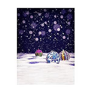Andoer 1.5 x 2m Photography Background Backdrop Digital Printing Christmas Snow Ball Pattern for Photo Studio